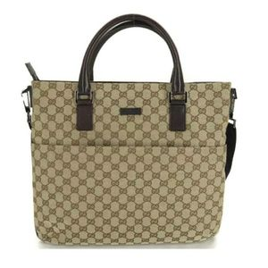 💯 AUTH GUCCI GG CANVAS LEATHER 2WAY HAND BAG